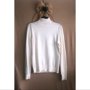 Soft Creamy White Cotton Turtleneck